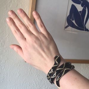VINTAGE 80s Snake Rhinestone Bangle Bracelet
